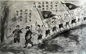 """1931年,粉碎敌人第一次""""围剿""""墙上的宣传画"""